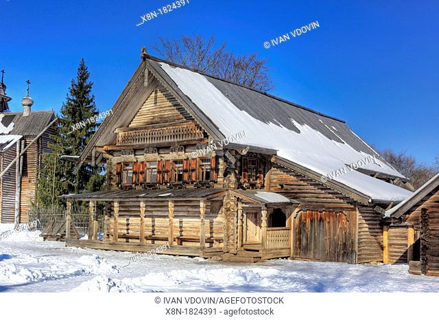 Traditional wooden house 1882, Museum of wooden architecture Vitoslavlicy, Veliky Novgorod, Novgorod region, Russia