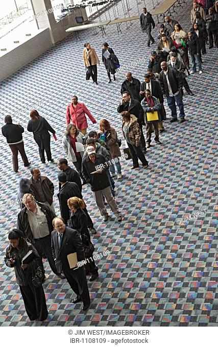 More than 5000 unemployed residents of southeast Michigan showed up to look for work at a job fair sponsored by the city of Detroit, Detroit, Michigan, USA