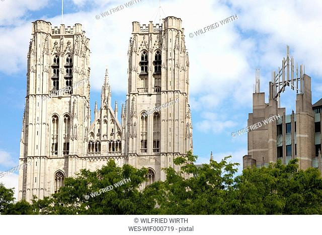 Belgium, Brussels, view to Cathedral of St Michael and St Gudula