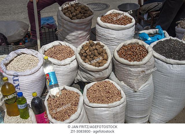 bags with nuts and seeds at market in Albania