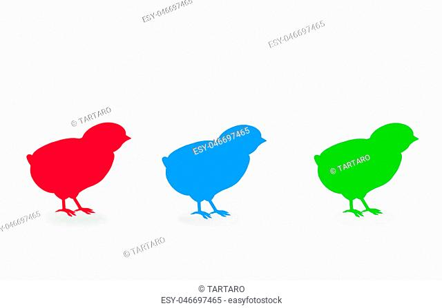 illustration, red,blue and green chicks isolated on white background