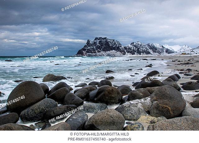 Utakleiv beach, Leknes, Vestvågøy, Vestvågøya, Lofoten, Nordland, Norway, March 2017, looking north over Steinsfjorden to Skolmen / Utakleiv Strand, Leknes