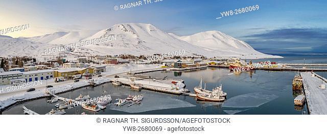 Small fishing village, Dalvik, Eyjafjordur, Iceland. This image is shot using a drone