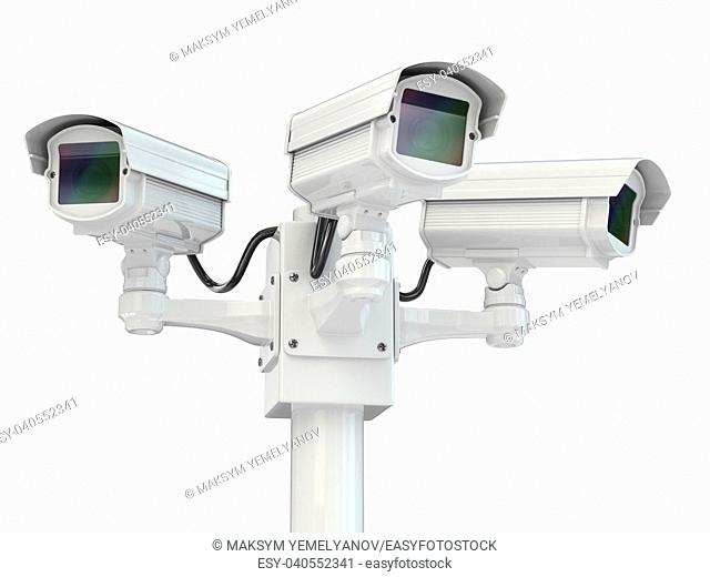 CCTV security camera on white isolated background. 3d
