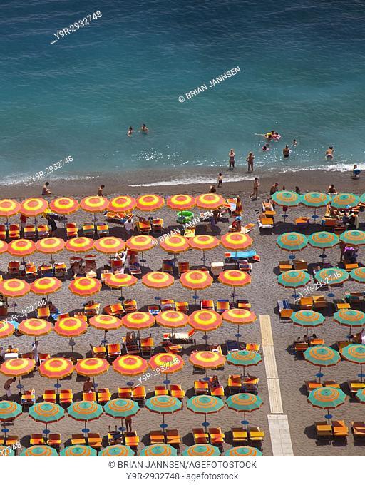Colorful beach umbrellas in Positano - along the Amalfi Coast, Campania Italy