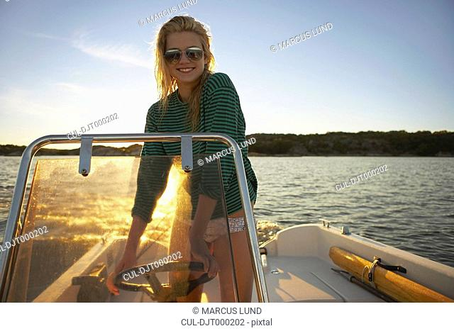 Young Woman in speedboat