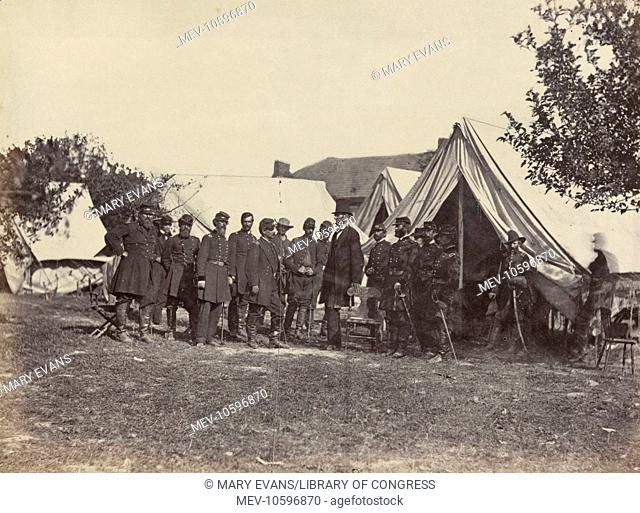 President Lincoln on battle-field of Antietam, October, 1862. Photograph shows Abraham Lincoln at Antietam, Maryland, on Friday, October 3, 1862