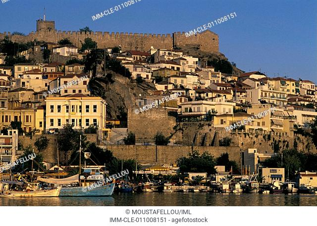 Port and view of the castle , Kavala, East Macedonia, Greece