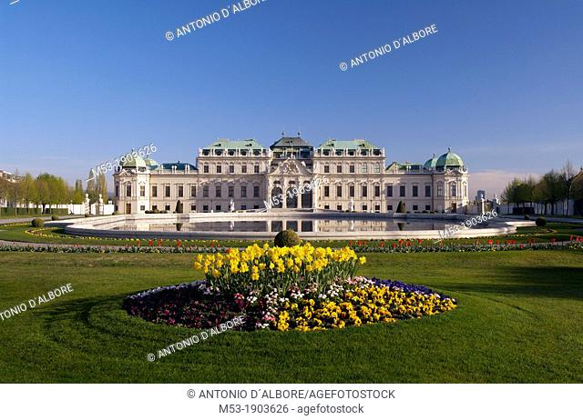 facade of the upper belvedere palace with pool and garden  Landstrasse district  vienna  austria