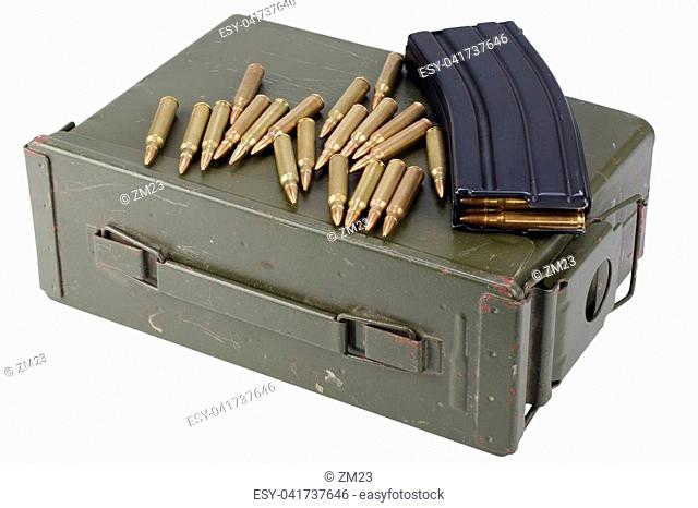 Ammo can with ammunition isolated on white