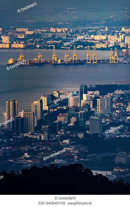 urban cityscape view from Penang Hill, Malaysia