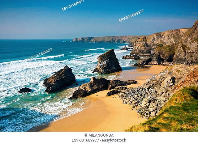 Atlantic coast of Cornwall in UK