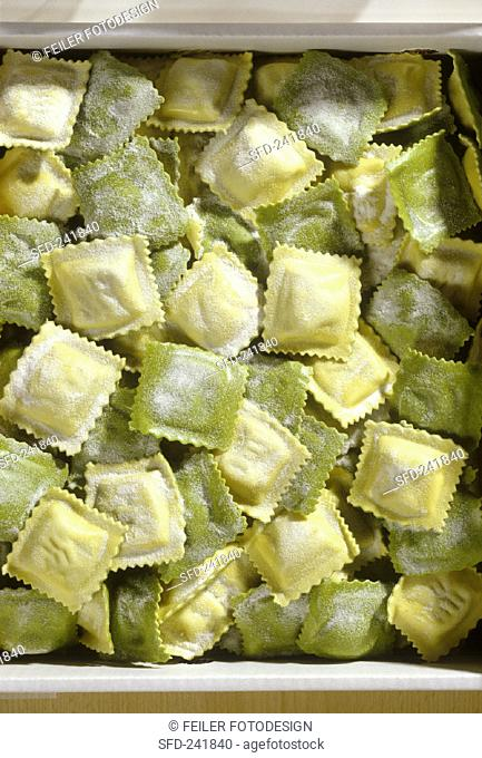 Home-made ravioli with ricotta and spinach