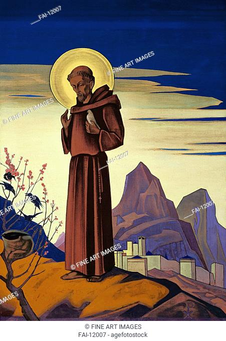 Saint Francis. Roerich, Nicholas (1874-1947). Tempera on canvas. Symbolism. 1932. Nicholas Roerich Museum, New York. 152,5x107. Painting