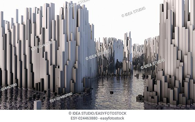 3D illustration of abstract render structure made of millions columns on the water