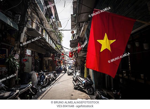 Flags along streets in Hanoi, Vietnam