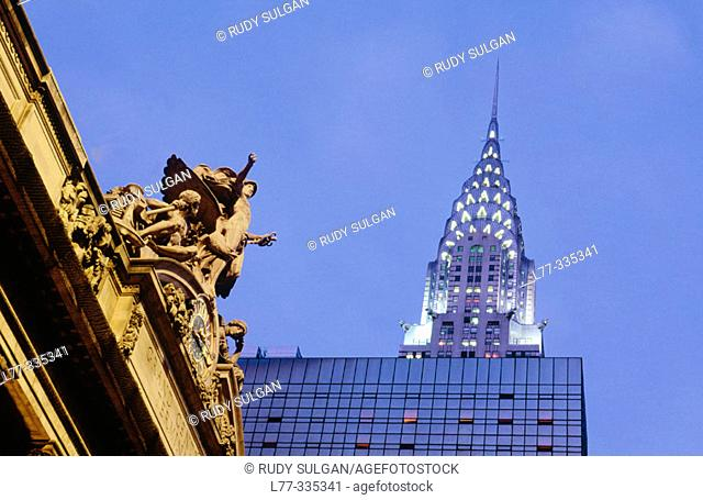 Chrysler Building and Grand Central terminal. New York City, USA
