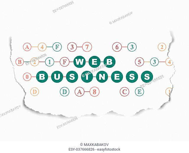 Web development concept: Painted green text Web Business on Torn Paper background with Scheme Of Hexadecimal Code