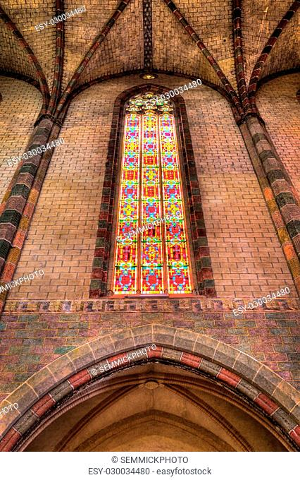 Coloured glass in the Church of the Jacobins in Toulouse