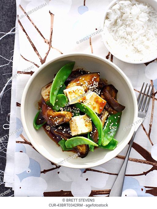 Bowl of Japanese eggplant with tofu