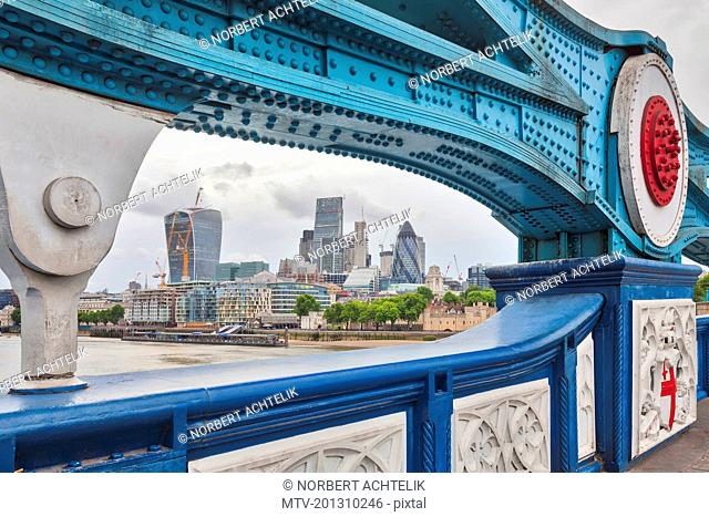 City of London through Tower Bridge, England