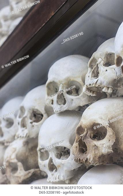 Cambodia, Phnom Penh, The Killing Fields of Choeung Ek, Memorial Stupa filled with over 800 skulls of Khmer rouge victims
