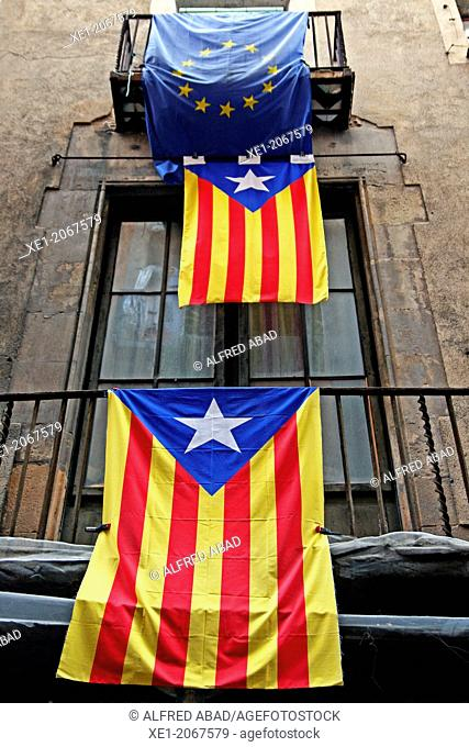 Catalan and European flags, balconies, Barcelona, Catalonia, Spain