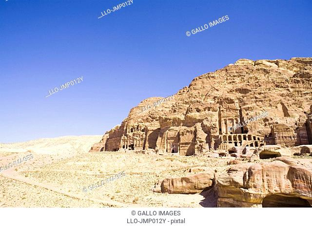 Low Angle View of Archaeological Remains  Petra, Jordan, Middle East