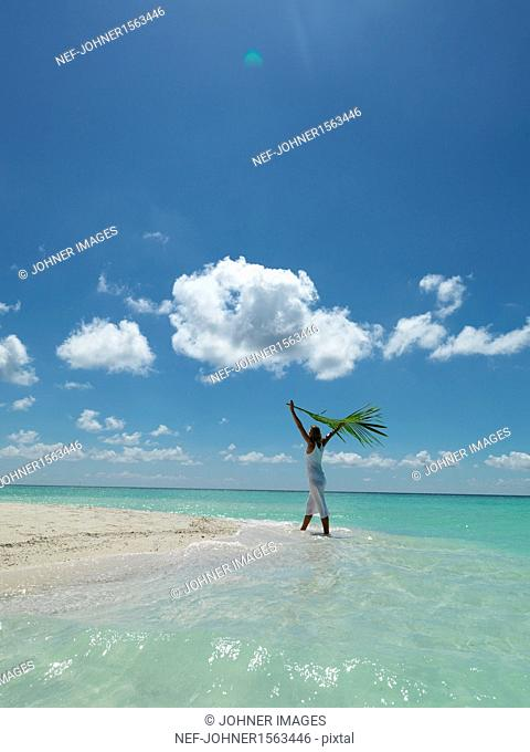 Woman holding palm leaf on tropical beach