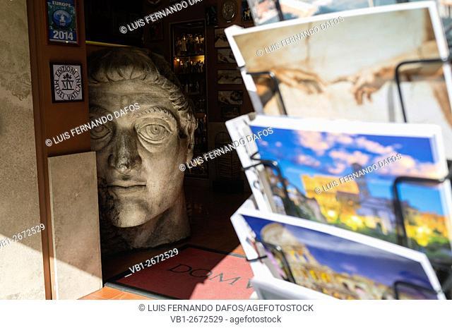 Souvenirs shop next to the Vatican. Via della Conciliazione, Rome, Italy