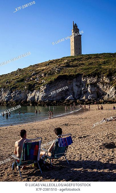 Tower of Hercules, Roman lighthouse, from Lapas beach, Coruña city, Galicia, Spain