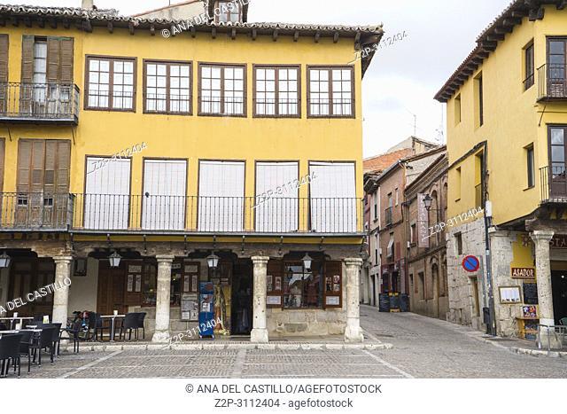 Main square or plaza mayor in Tordesillas monumental town in Castile Leon Spain