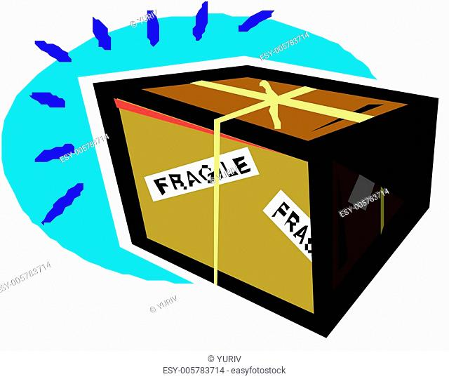 Recycle box and rubber stamp stating Handle With Care isolated over white (danger). Vector illustration
