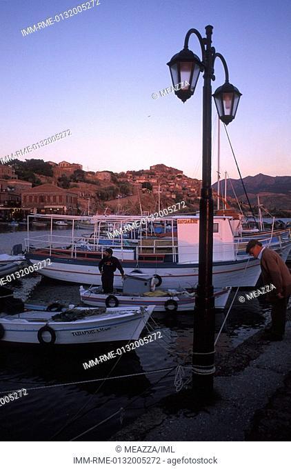 Molyvos, port, fishing boats , Greece: N E  Aegean, Lesvos