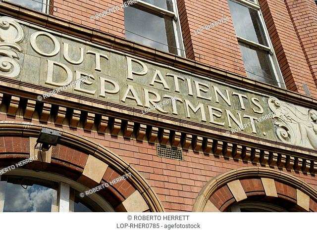 England, London, Lambeth, Out Patients Department hospital sign on exterior of the former Royal Childrens Hospital