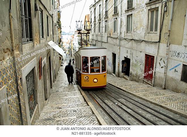 Elevador da Bica. Bairro Alto, Lisbon, Portugal