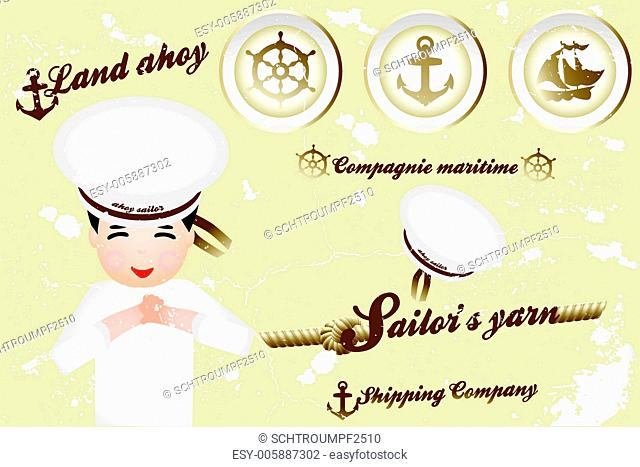 Vintage nautical design elements and sailor