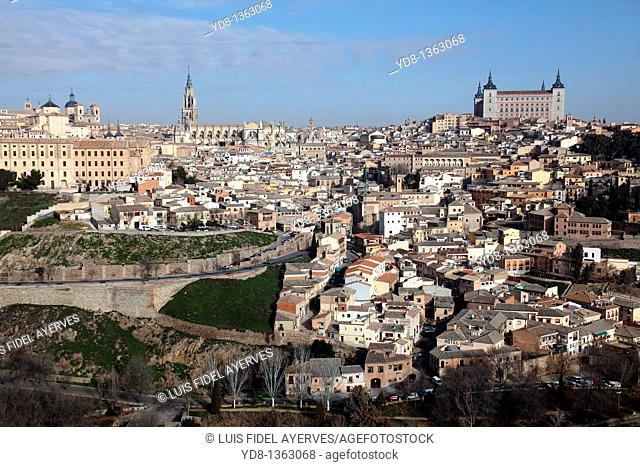 Panoramic View of the City and the Alcazar of Toledo, Spain