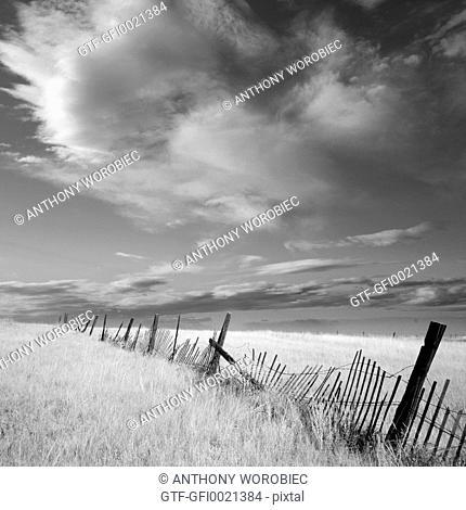 Broken fence in landscape
