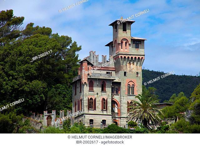The castle Castello Fiori on a hill above the village, Moneglia, Genoa Province, Liguria, Italian Riviera or, Riviera di Levante, Italy, Europe