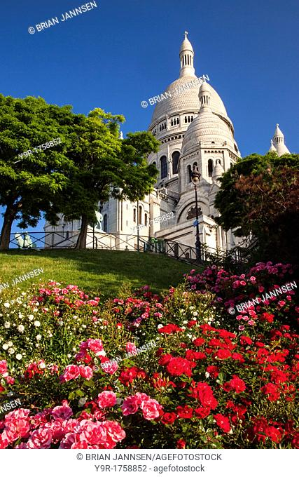 Early morning below Basilique du Sacre Coeur, Montmatre, Paris France