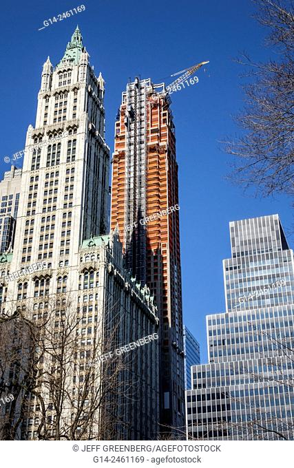 New York City, NY NYC, Manhattan, Lower, Financial District, Broadway, Woolworth Building, neo-Gothic style architecture, 30 Park Place, residential