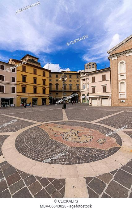 Historical buildings and palace of the medieval old town Jesi Province of Ancona Marche Italy Europe