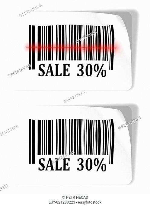 Two labels with bar codes and sale sign