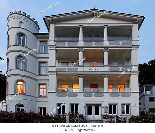 The Odin Villa, typical architecture on Wilhelm Street, Sellin, beach resort town, Ruegen, Germany, Europe