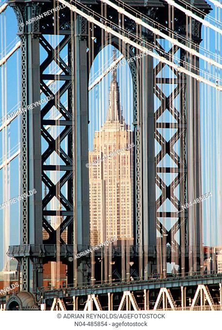Manhattan Bridge and Empire State Building in background. Manhattan. New York City. USA