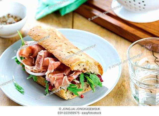 Prosciutto with rocket and radicchio sandwich