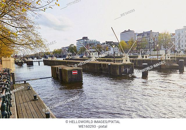 Amstelsluizen sluice gates, Amstel river, Amsterdam, Netherlands. . Allows Amsterdams canals to be flushed with fresh water