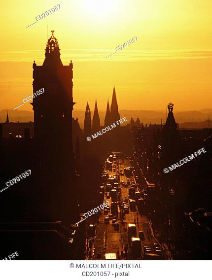 Princes Street at sunset, from Calton Hill, Edinburgh, Scotland