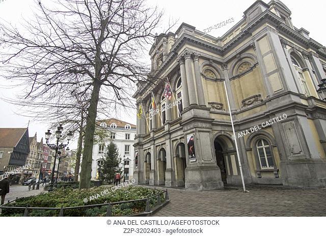 Brussels, Belgium. Facade of the City Theatre in Bruges